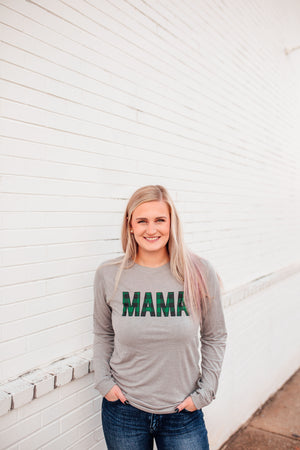 MAMA Buffalo Plaid © L/S Triblend Unisex Top (Athletic Heather + Hunter Green/Black)