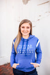 Giving Strength A Whole New Meaning© LEO Ladies Varsity Hoodie (Royal Heather + White)