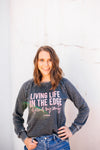 Living Life On The Edge Ladies French Terry Sweatshirt (Nickel Black + Coral)