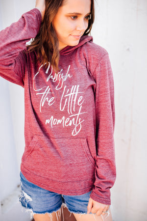Cherish The Little Moments Unisex Hooded Tee (Eco Currant + White)
