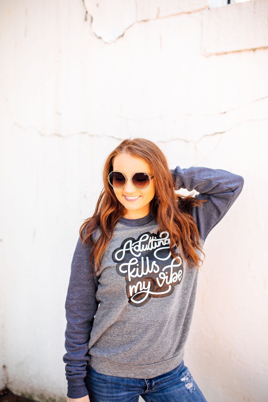 Adulting Kills My Vibe Unisex Crewneck Sweatshirt (Eco Grey/Navy + White/Black)