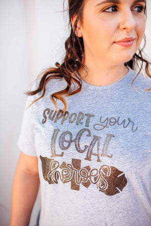 The ORIGINAL Support Your Local Heroes© Unisex Top (Heather Blue + Black Glitter)