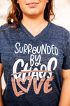 Surrounded By Love Unisex V-Neck Top (Navy Slub + White/RGS)