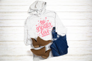 No Greater Love Unisex Hooded Tee (Eco Light Grey + Mauve)