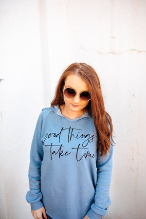 Good Things Take Time Ladies Lightweight Fleece Sweatshirt (Misty Blue + Black)