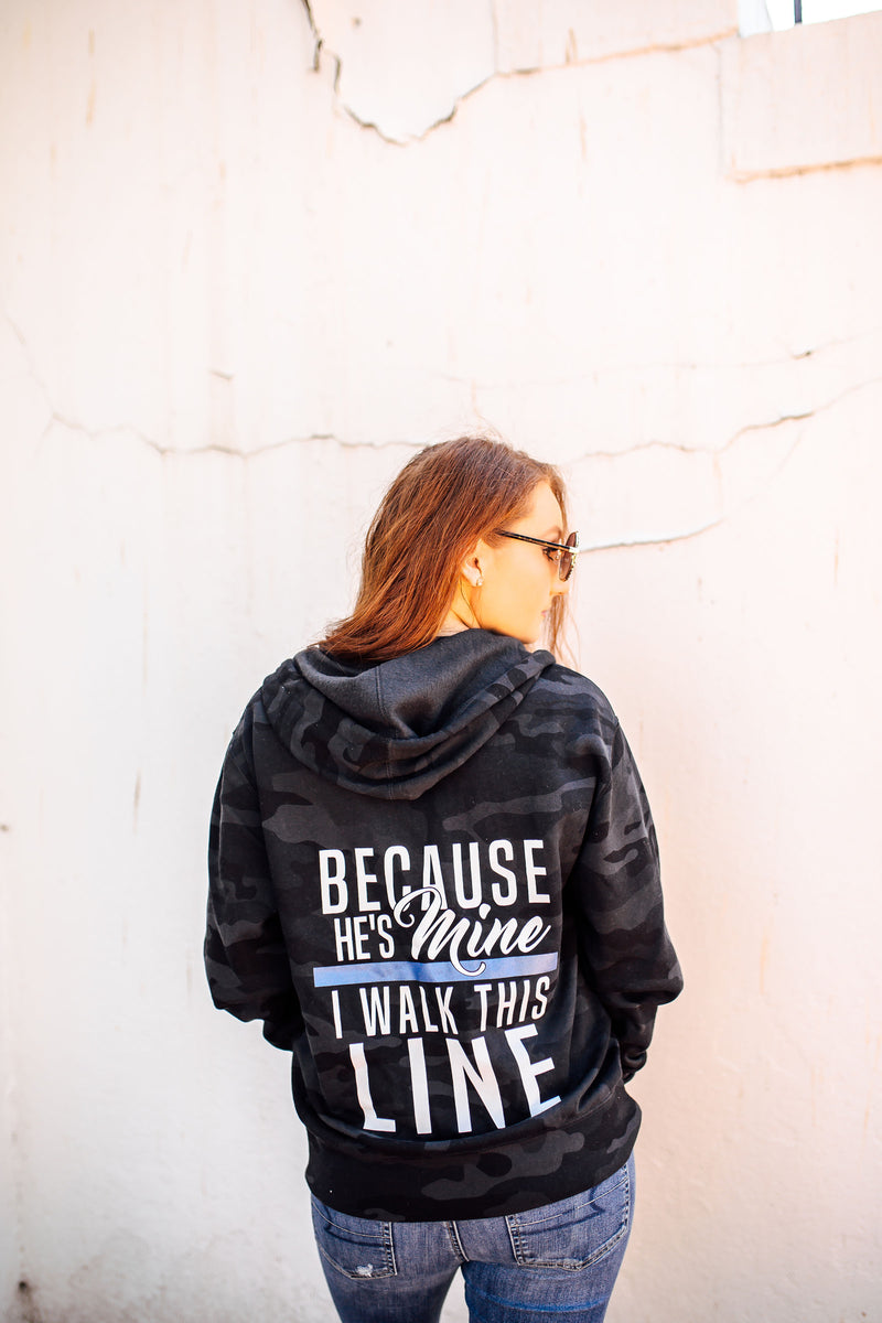 Because He's Mine Unisex Zip Hoodie (Black Camo + TBL)