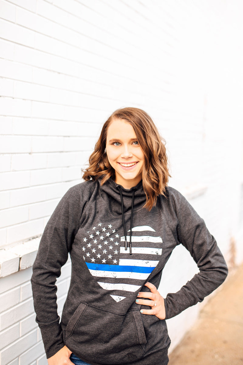 Grunge Flag Heart Ladies Cowl Neck Fleece Hoodie (TBL + Black Heather)