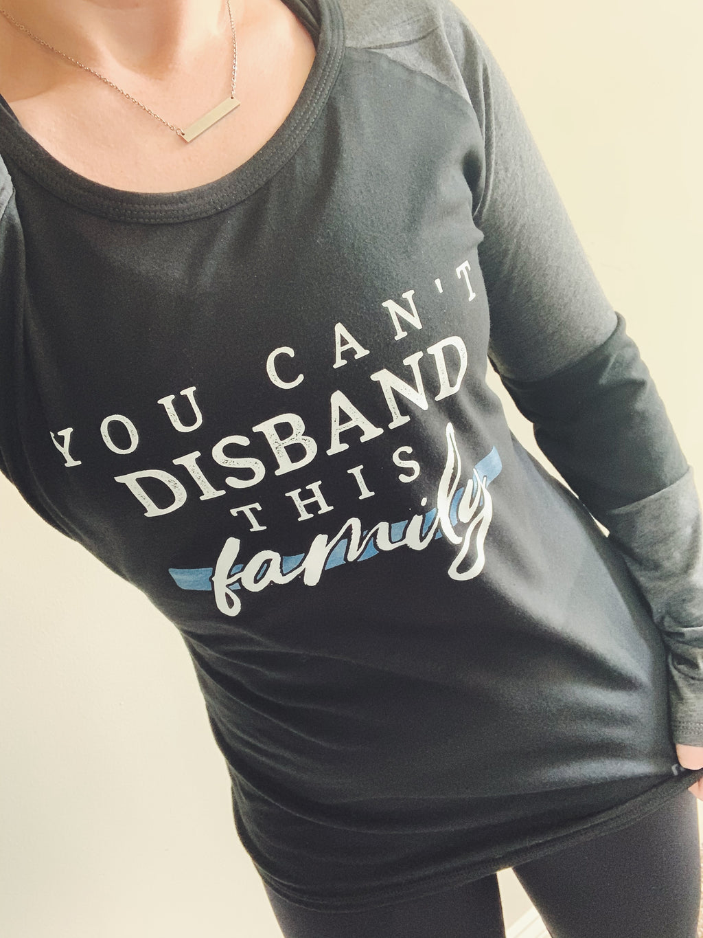 You Can't Disband This Family© Ladies Colorblock Baseball Tee (TBL + Graphine/Black)
