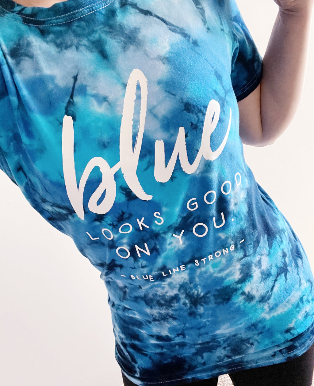 Blue Looks Good On You © Pocket Print Unisex Tie Dye Tee (Mediterranean) // FINAL SALE