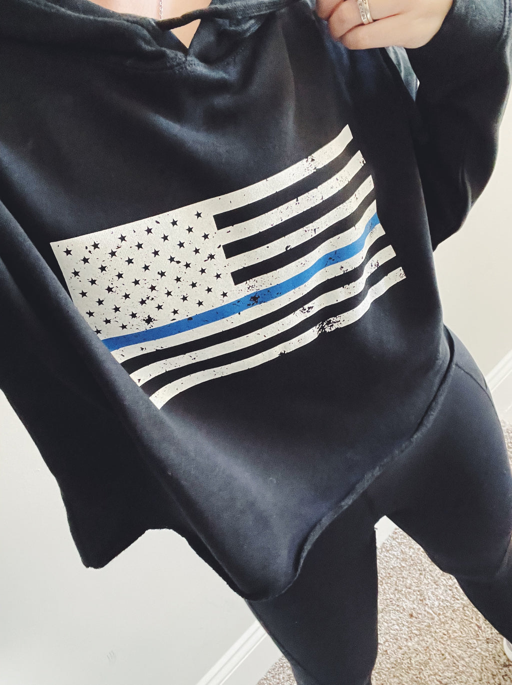 Distressed Standard Flag © Ladies Cropped Hooded Sweatshirt (Black + Select Your Line)