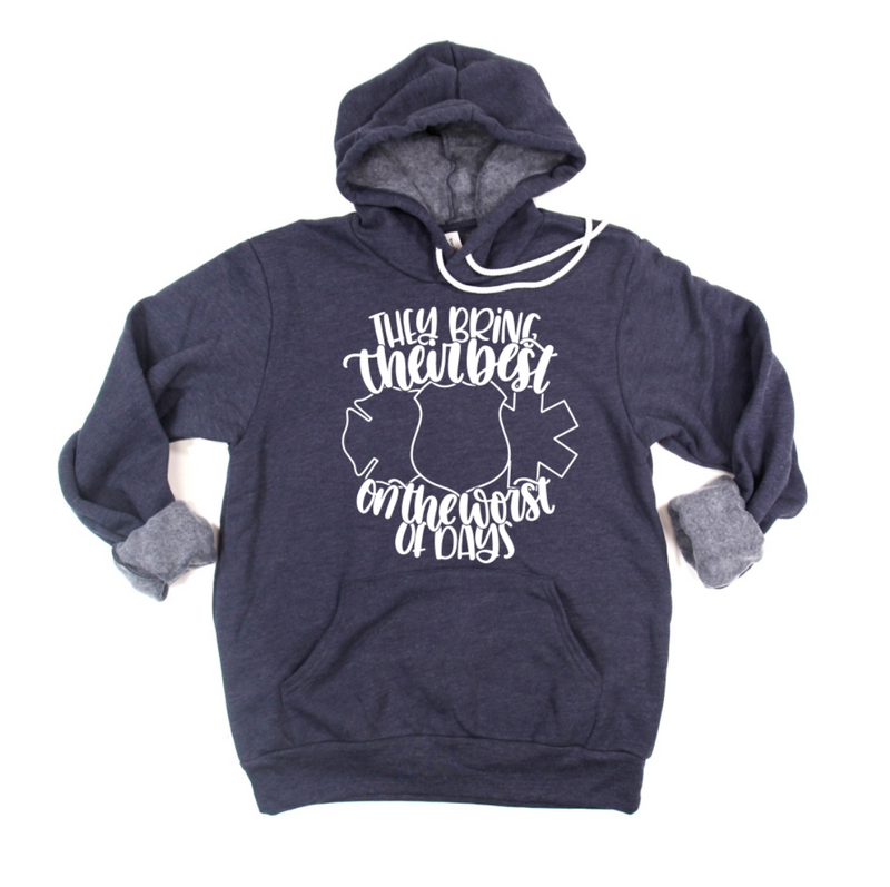 They Bring Their Best On The Worst Of Days© Unisex Pullover Hoodie (White)