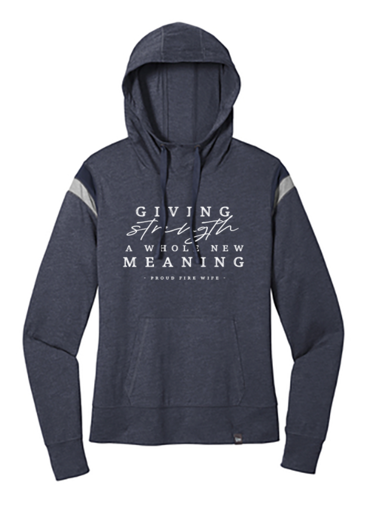 Giving Strength A Whole New Meaning© FIRE Ladies Varsity Hoodie (Heather Navy/Rainstorm + White)