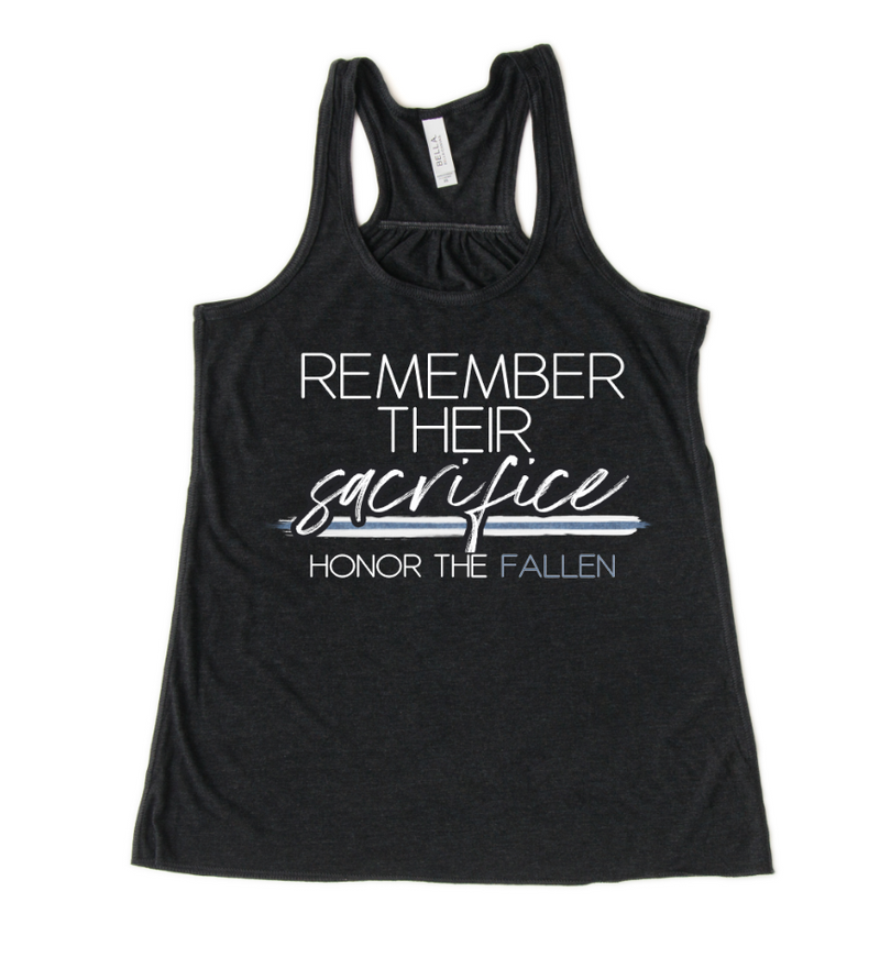 Remember Their Sacrifice/Honor The Fallen© Ladies Flowy Racerback Tank (White/Blue Shimmer)