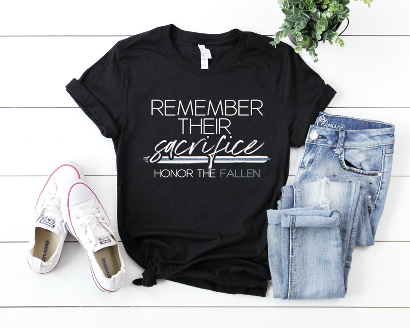 Remember Their Sacrifice/Honor The Fallen© Unisex Top (White/Blue Shimmer)