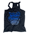 Can't Hear You Over The Sound Of My Freedom Ladies Flowy Racerback (Blue Ombré Glitter)