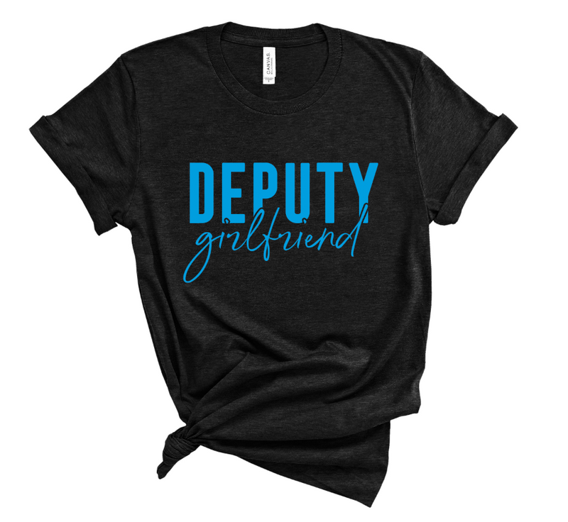 Deputy Girlfriend Unisex Top (Columbia Blue + Black Heather)