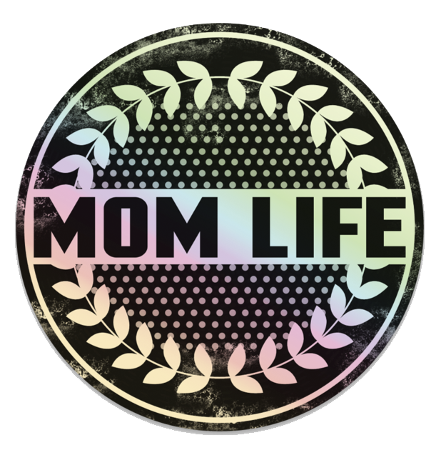 Distressed Mom Life Holographic Printed Decal