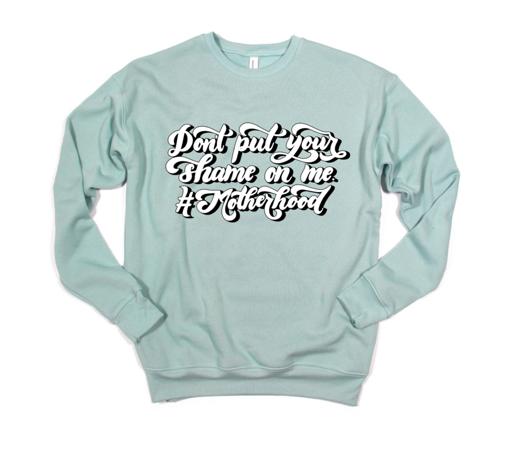 Don't Put Your Shame On Me © Unisex Crewneck Sweatshirt (White/Black + Dusty Blue)