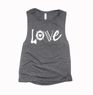 The ORIGINAL Love Firefighter Gear © Ladies Flowy Muscle Tank (White)