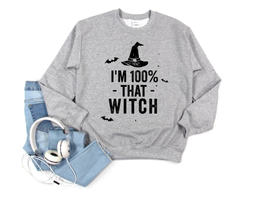 100% That Witch Unisex Crewneck Sweatshirt (Sport Grey + Black)