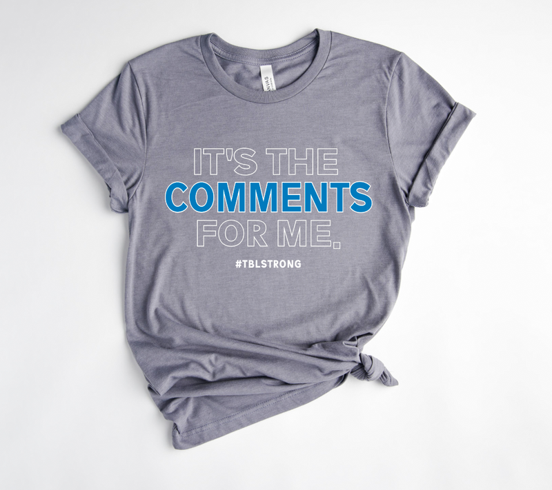 It's The Comments For Me © Unisex Top (White/Columbia Blue)