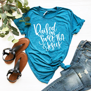 [CLOSEOUT] Raised on Sweet Tea and Jesus Unisex Top - Final Sale