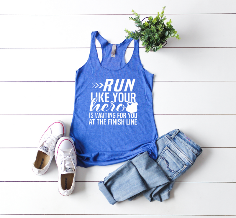 Run Like Your Hero Is Waiting Triblend Racerback