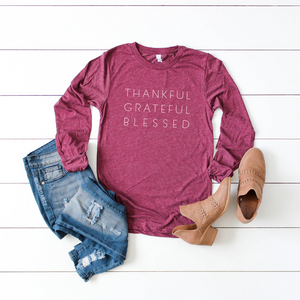 Thankful Grateful Blessed L/S Triblend Unisex Top