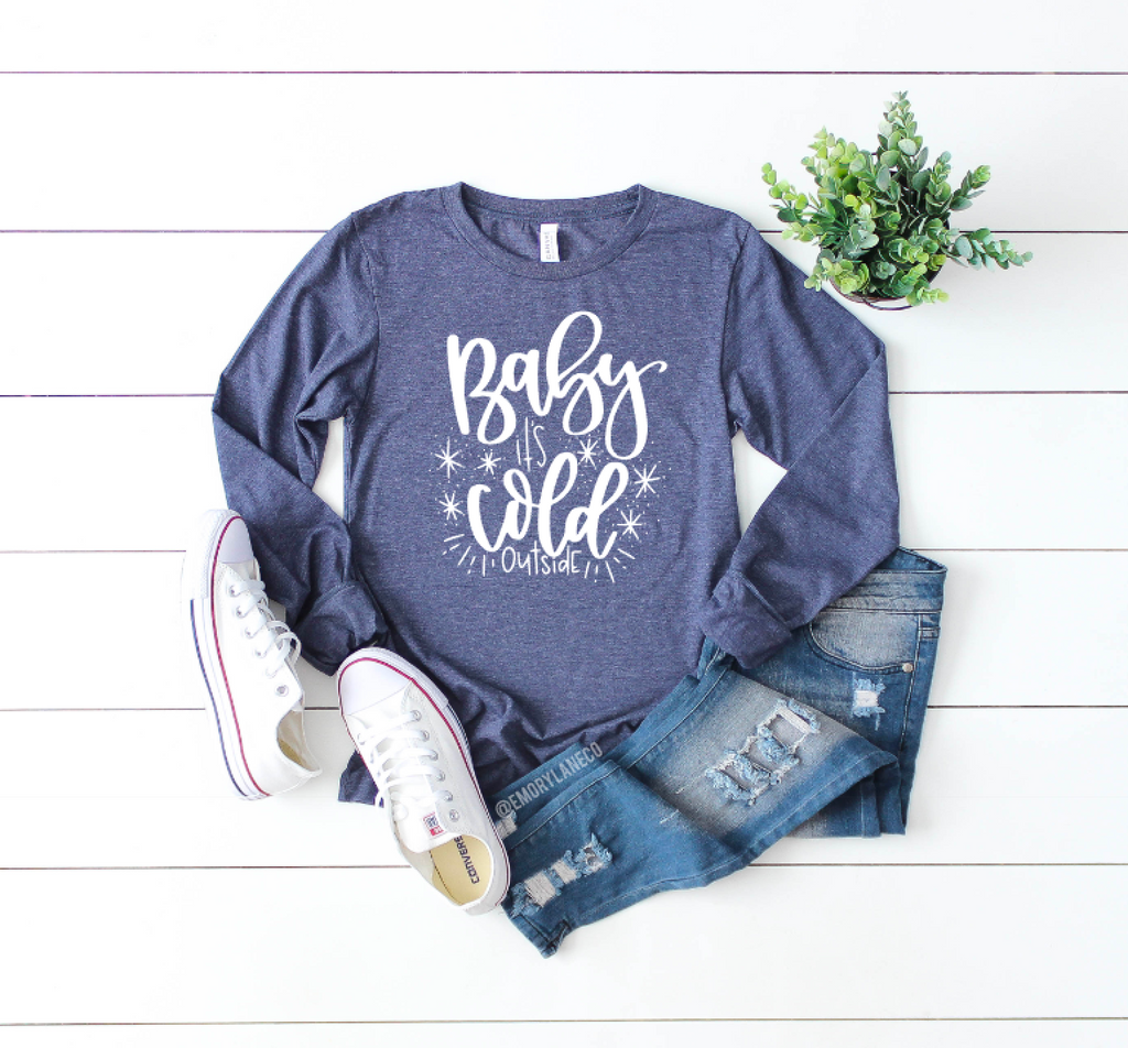 Baby, It's Cold Outside L/S Triblend Unisex Top