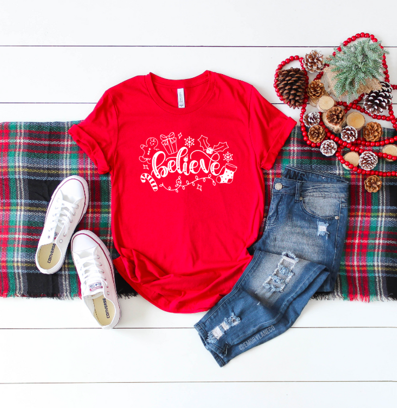 Holiday Believe Script Unisex Top
