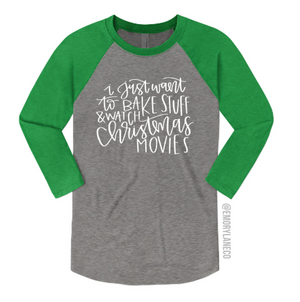 I Just Want To Bake Stuff Unisex Baseball Raglan