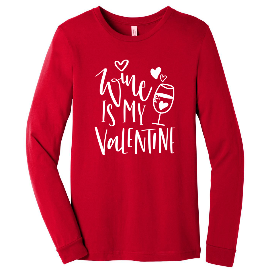 Wine Is My Valentine L/S Triblend Unisex Top