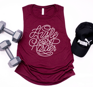 Hustle Harder Ladies Flowy Muscle Tank