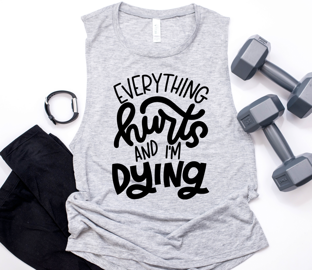Everything Hurts Ladies Flowy Muscle Tank