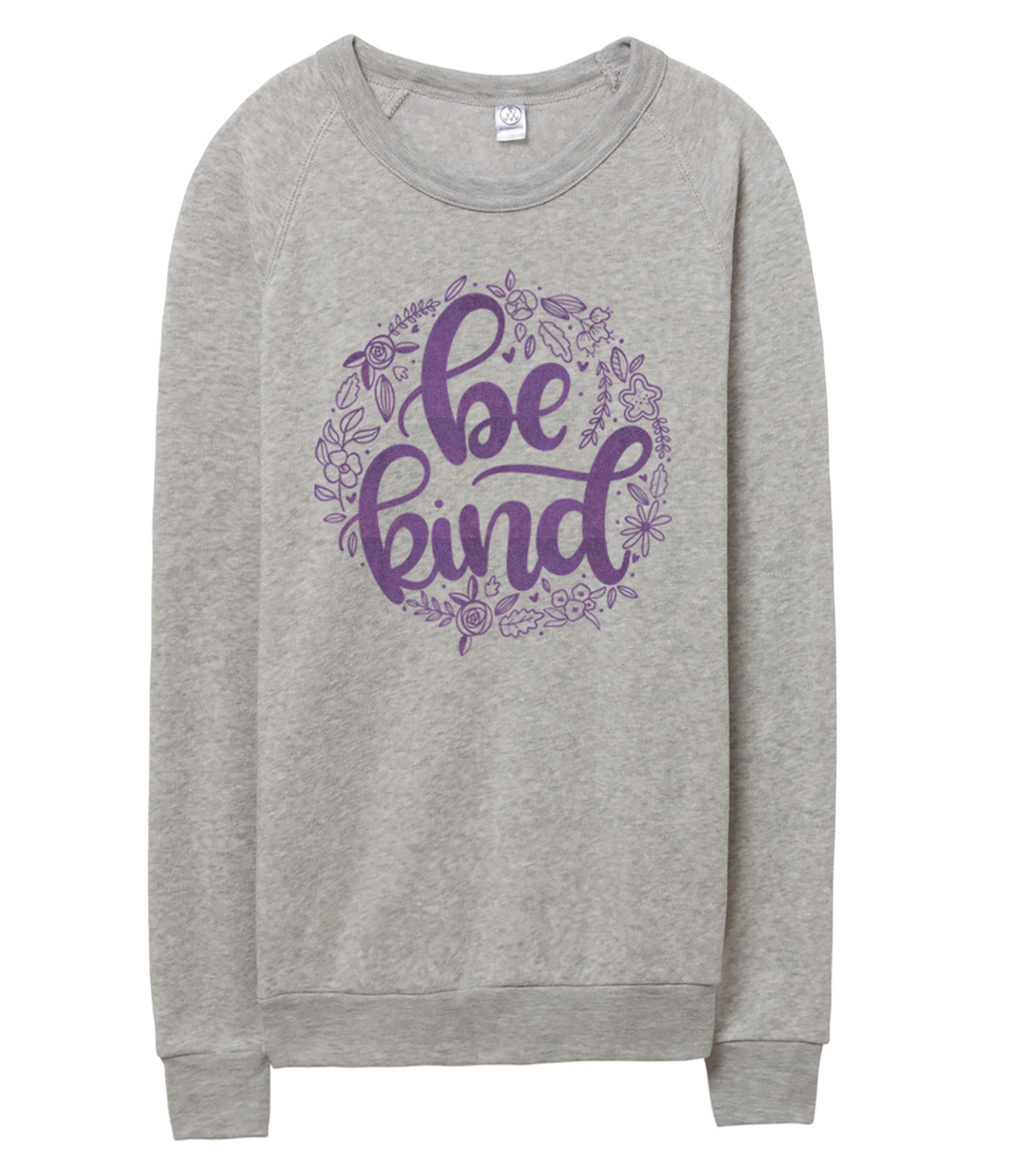 Be Kind Unisex Crewneck Sweatshirt - Purple Shimmer