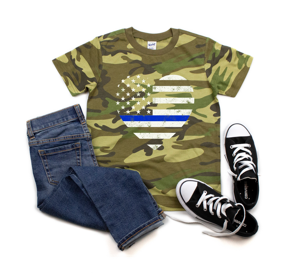 Distressed TBL Heart Flag CAMO Tee - Youth