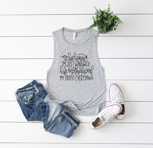 I'm Just Winging it (Black) Ladies Flowy Muscle Tank