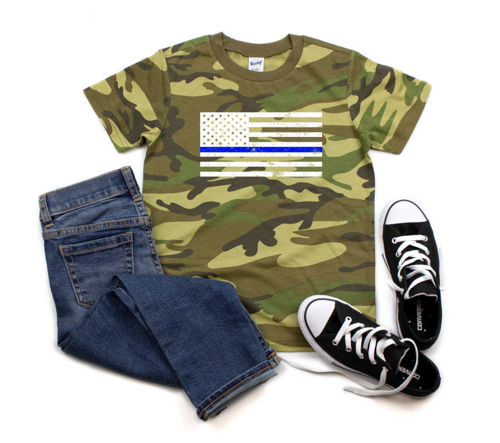 Distressed TBL Standard Flag CAMO Tee - Youth