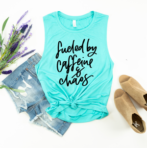 Fueled By Caffeine + Chaos Ladies Flowy Muscle Tank