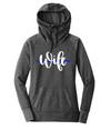 Wife Script Ladies Cowl Neck Fleece Hoodie (TBL + Black Heather)