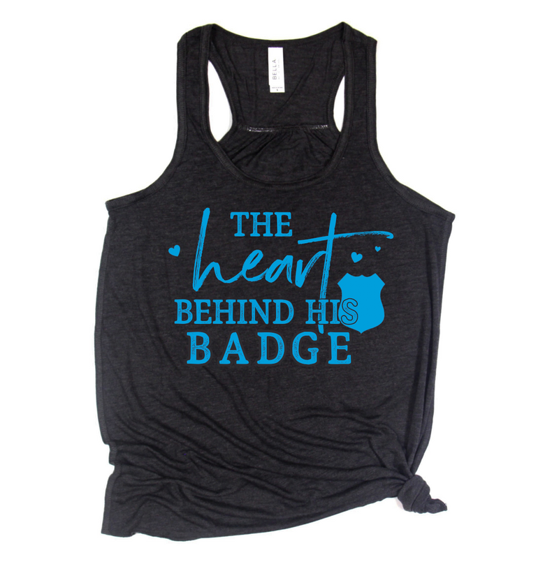 The Heart Behind the Badge Ladies Flowy Racerback (Black Heather + Columbia Blue)