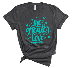 No Greater Love Unisex Top (Dark Heather Grey + Seafoam)