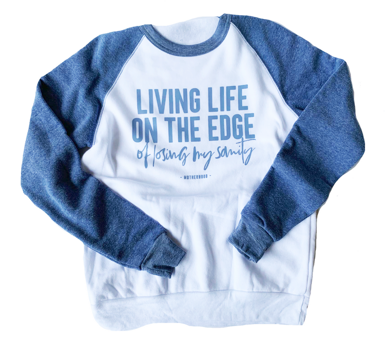 Living Life On The Edge Unisex Crewneck Sweatshirt (Eco Pacific + Chambray)