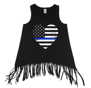 TBL Grunge Flag Heart Youth Fringe Tank