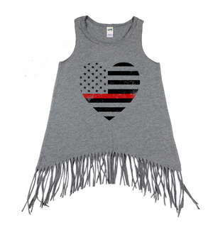 TRL Grunge Flag Heart Youth Fringe Tank