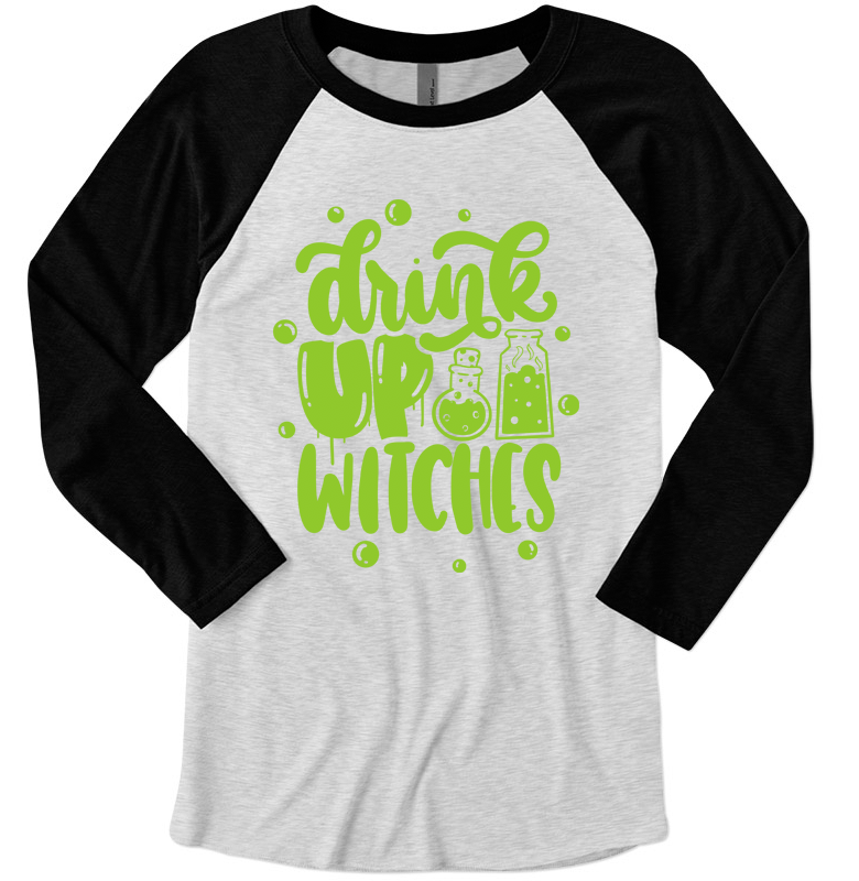 Drink Up Witches Unisex Baseball Raglan (Black/Heather White + Bright Green)