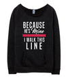 Because He's Mine (TRL) Ladies Slouchy Sweater (White/Red Shimmer)
