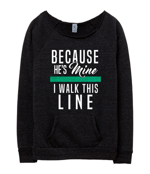 Because He's Mine (TGL) Ladies Slouchy Sweater (White/Green Shimmer)