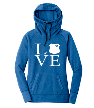 LEO Love Square Cowl Neck Fleece Hoodie // Select Your Badge (Royal Heather + White)