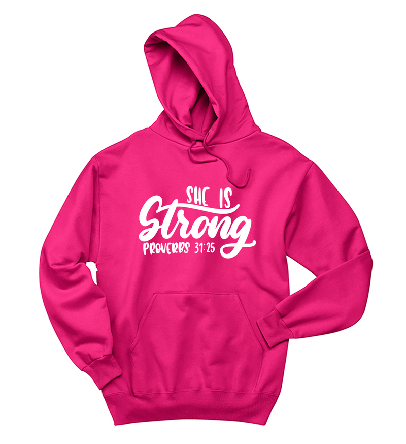 She Is Strong Breast Cancer Awareness Unisex Hoodie (Neon Pink)